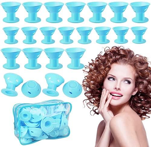 40 piezas de rizadores de pelo de silicona sin calor Rizadores de pelo sin clip Rizadores de silicona Rizadores de pelo suaves con una bolsa...