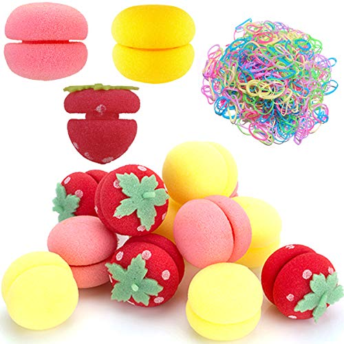 Rizador de Pelo Esponja,Yueser 18 Piezas Fresa Rizadoras de Esponja y 1000 Multicolor Mini Gomas de Pelo Bandas para Mujeres y Niños...