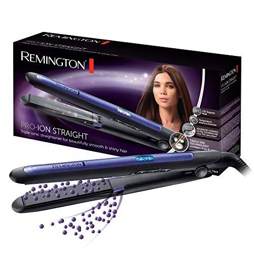 Remington Pro Ion Plancha de Pelo - Cerámica, Placas Flotantes de 110 mm, Tecnología Iónica Triple, Digital, Azul y Negro - S7710
