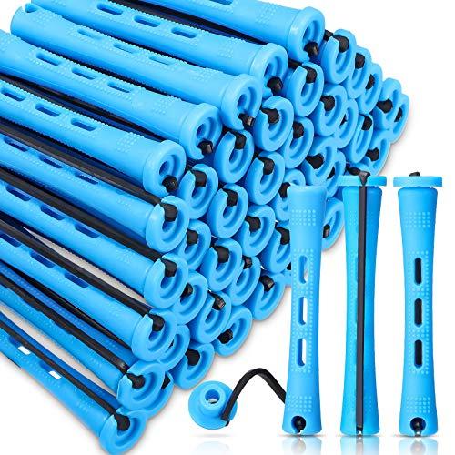 60 Barras de Permanente de Pelo Rodillos de Pelo Antideslizantes Barras de Onda Fría de Plástico Varillas Rulos Cortos con Banda de Goma...