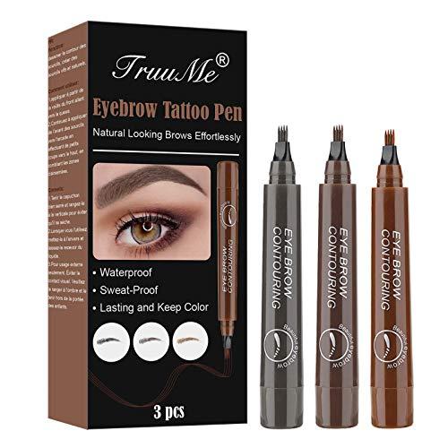 EyebrowPencil, LiquidEyebrowTattoo, LapizCejas, Coloración de Cejas de 3 Colores Con Puntas Impermeable de Larga Duración Para...