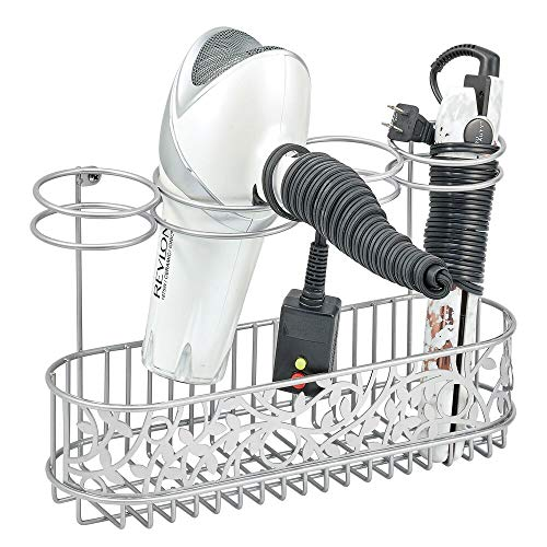 mDesign Soporte para secador de pelo para fijar en la pared – Estante de baño para guardar secador, rizador y plancha de pelo –...