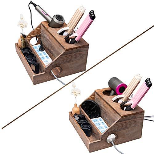 Soporte para secador de pelo de madera, antiguo granja decorativa rústico secador de soplado y rizador de hierro para peinar herramientas...