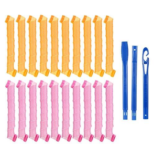 AUXSOUL 20 piezas de Rizadores de Pelo en Espiral Mágicos Rulos para el Pelo Herramientas de Peinado sin Calor con Ganchos de Pelo para...