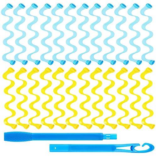 Gobesty Kit de rulos para el pelo, 24 unidades de rulos mágicos en espiral, rizadores ondulados para el pelo, no calientes y ganchos (25...
