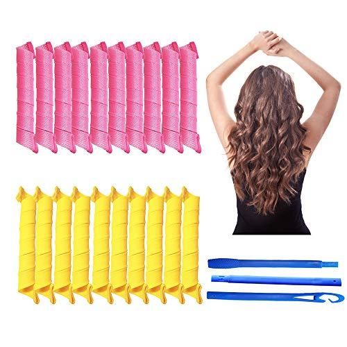 banpa - Paquete de 20 Rizadores de Pelo Mágicos de 55 cm, Rulos sin Calor con 3 Ganchos de Peinado, Kit de Peinado de Rizos en Espiral para...