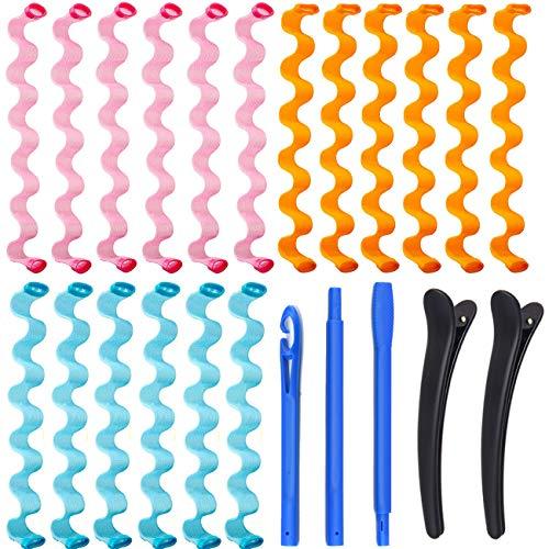 Kit de Rulos de Peinado, KECRULV 18 Piezas Rizadores de Pelo en Espiral Mágicos Sin Calor con 3 Ganchos de Peinado y 2 Pinzas de Pelo, para...