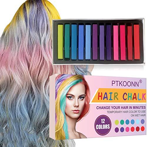 Cabello Tiza, Tiza de Pelo, Tiza para el Cabello, Coloración temporal Cabello, Hair Chalk Set, 12 Colores Temporal Tiza de Pelo No Tóxicas...