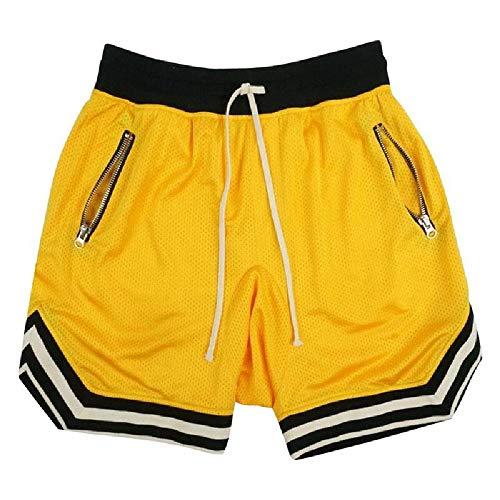 U/A Pantalones cortos informales para hombre, pantalones cortos de playa, rectos, finos, pantalones cortos deportivos para hombre Amarillo...