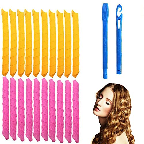 Juego de 18 rizadores de pelo mágicos en espiral y 2 ganchos de peinado, Magic Hair Curlers Spiral Curls Styling Kit, rizadores de pelo sin...
