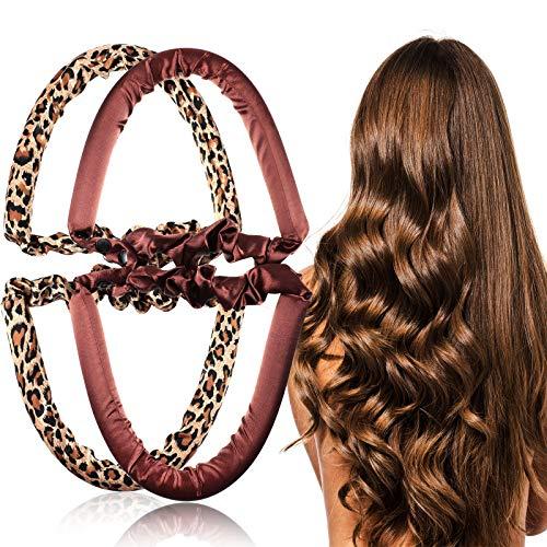 Hanaive 2 piezas sin calor banda de pelo rizador de pelo banda deportiva banda de pelo ondulado, rizos sin calor, para mujeres y niñas...