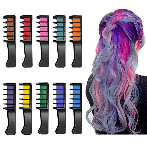 Peine de Tiza Para el Pelo, 10 Colores Lavables Tinte para Cabello, Color de pelo Temporal Hair Chalk Set para Niños Regalos Navidad...