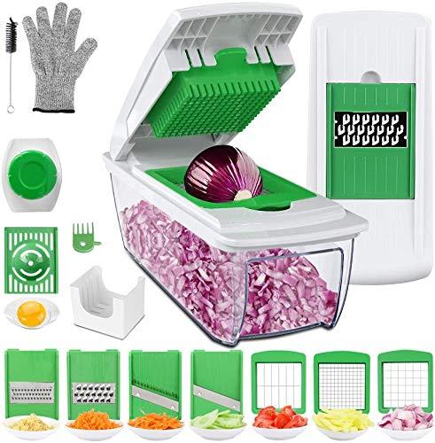 Multiusos Cortador de Verduras Mandolina de Cocina Profesional, 7 Cuchillas con Guantes Resistentes, Separador de Huevo, Cepillo de Limpieza...