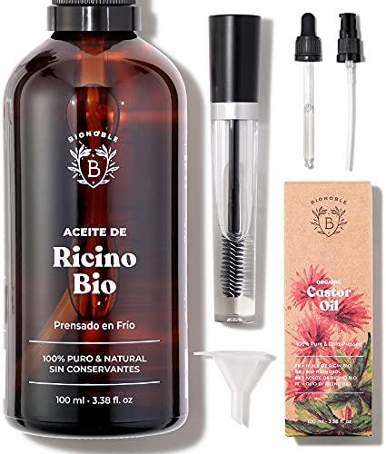 ACEITE DE RICINO ORGÁNICO   100% Puro, Natural y Prensado en Frío   Pestañas, Cejas, Cuerpo, Cabello, Barba, Uñas   Vegan Castor Oil  ...