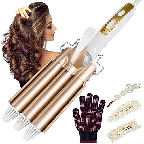 Beinhome Rizador de pelo de 3 barras, 22 mm, rizador de cerámica, ondas grandes, calentamiento rápido, temperatura ajustable, herramienta...