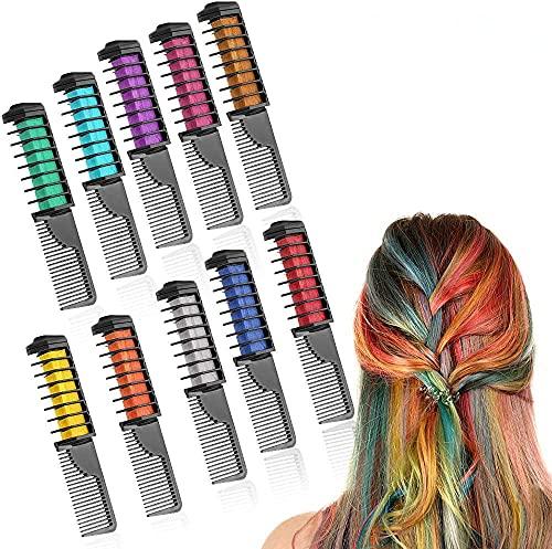 Peines de Tiza de Colores para el Pelo 10 colores temporales de cabello Tinte no tóxico Color de Tiza para niñas y niños Pelo teñido,...