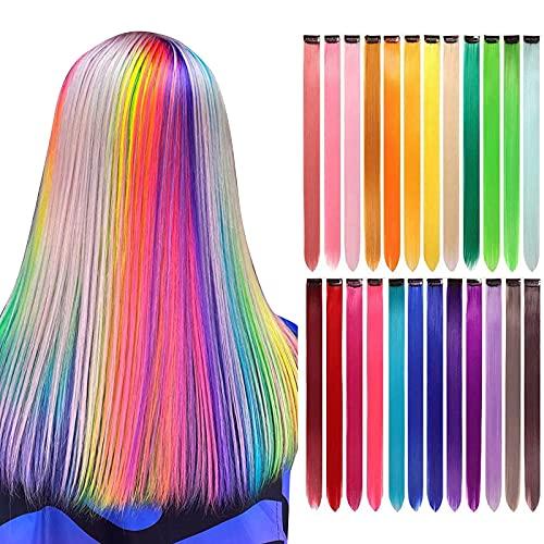 LANSE extensiones de pelo de colores en el clip 24 PC / paquete de 24 colores del arco iris 21inch sintético pelo largo recta seleccionada...