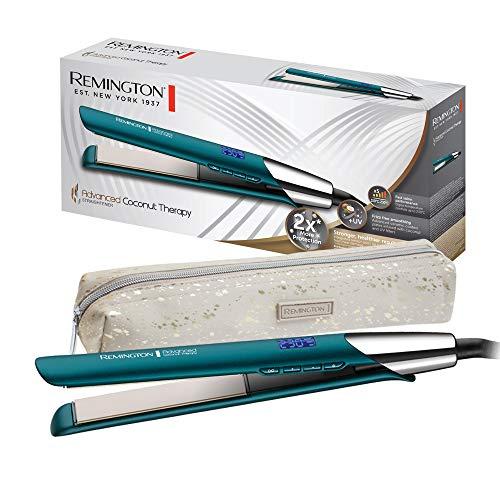 Remington Plancha de Pelo Advanced Coconut Therapy - Cerámica, Digital, Resultados Profesionales, Placas Flotantes, Azul - S8648