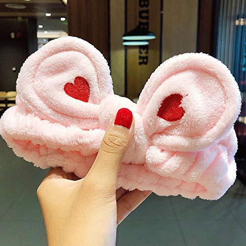 Ajcwhml Wash Face Hair Holder Hairbands Soft Warm Coral Fleece Bow Animal Ears Diadema para Mujeres Niñas Turbante Moda Accesorios para el...