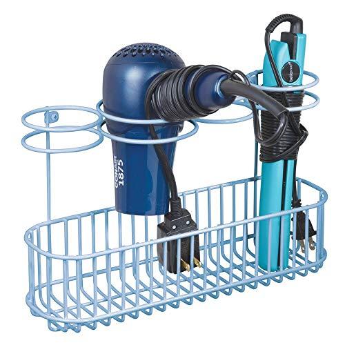mDesign Soporte de Pared para secador de Pelo – Estante de baño de Metal con 4 Aros de Soporte y Gran Superficie de Apoyo – Organizador...