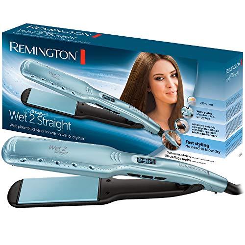 Remington Wet 2 Straight S7350 - Plancha de Pelo, Cerámica, Digital, para el Cabello Seco y Húmedo, Resultados Profesionales, Azul