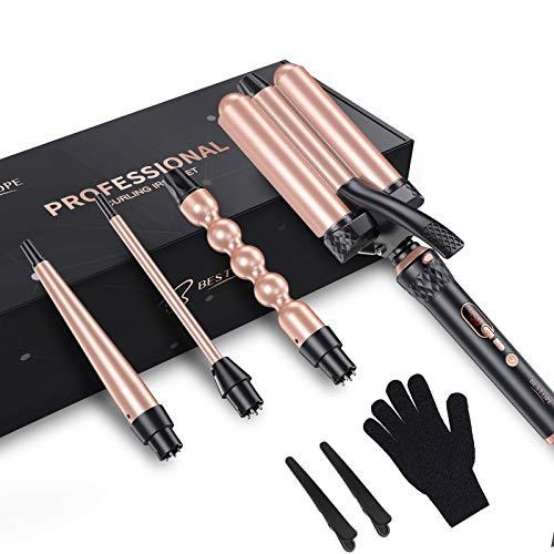 BESTOPE - Rizador de pelo con 3 barriles y candado LCD, 4 en 1, Easy Waves para rizar, multipeinado
