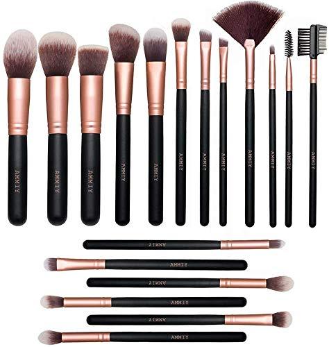 Pinceles de Maquillaje Rose Golden de 18 Piezas Brochas de maquillaje de Primera Calidad Set Para Cara y Ojos, Pinceles Sintéticos Para...