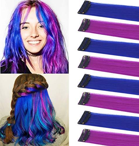 FYHTSD 8PCS 21''Azul y morado Accesorios de moda Piezas de peluca para niños Extensiones de cabello de colores Múltiples colores Fiesta...