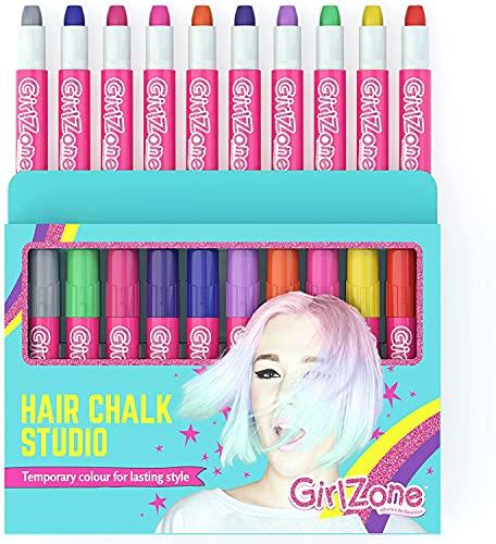 Girlzone Regalos para Niñas Tizas para el pelo 10 Tizas de Color Lavables Fácil Usar: 10 Colores Metálicos Hair Chalk for Girls Regalo de...