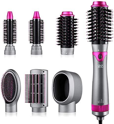 Secador de pelo 6 en 1, cepillo y voluminizador, secador de pelo extraíble, cepillo de aire caliente de una etapa para alisar el rizador y...