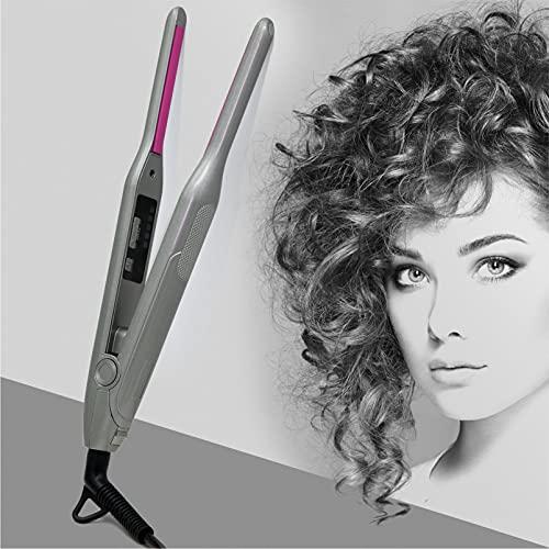 Rizador de pelo de 7 mm, rizador de pelo fino con pinza para pelo largo y corto, turmalina cerámica con indicador de temperatura ajustable,...