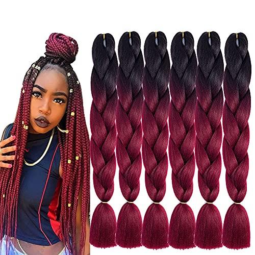 6 extensiones de pelo sintético Ombre Jumbo de 24 pulgadas, 2 tonos, para mujeres, ganchillo, trenzas, extensiones de pelo, 100 g/unidad,...
