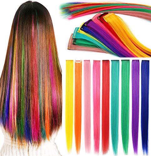 Rhyme Extensiones de Cabello Arco Iris Clip de Extensiones de Cabello de Color para niñas Muñecas Accesorios para el Cabello Wig Pieces...