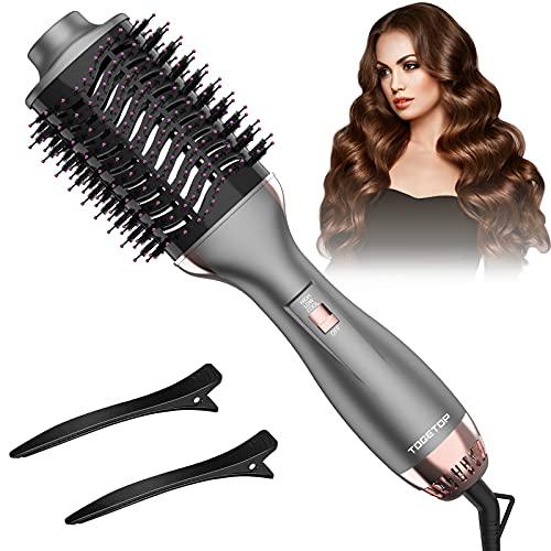 Cepillo Secador de Pelo, Cepillo alisador de pelo, Cepillo de Aire Caliente,de Peinado 4 en 1 con Rizador de Aniones de Cerámica, Reduce el...