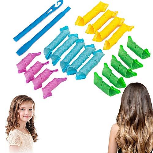 Gsyamh Flexibles Rulos Para El Pelo En Espiral Herramienta De Peluquería De Plástico Espiral Rizadores Para El Cabello Rizadores Mágicos...