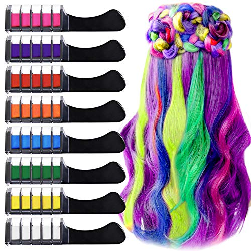 Peine de Tiza Para el Pelo con Tapa, EBANKU 8 Colores Lavables Tinte para Cabello, Color de pelo Temporal Hair Chalk Set para Niños Regalos...