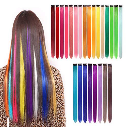 gotyou 24 Piezas Clip de Extensiones de Cabello liso Colorido,Pelucas de Clip Multicolor del arco Iris Extensiones de Cabello,Accesorios de...