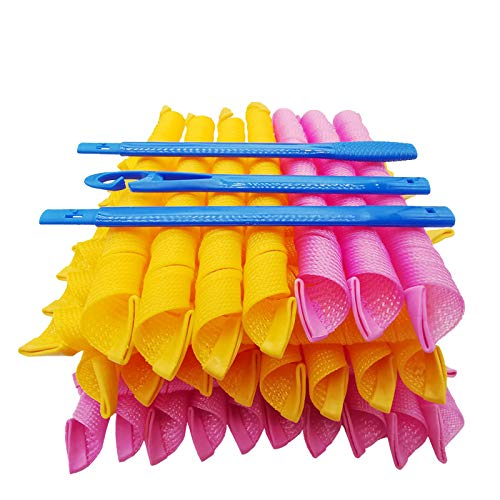 40 piezas Rizadores de Pelo Durante la Noche y 3 Ganchos de Peinado, 22'/55cm Rizadores de Pelo en Espiral, Kit de Peinado, Sin Calor