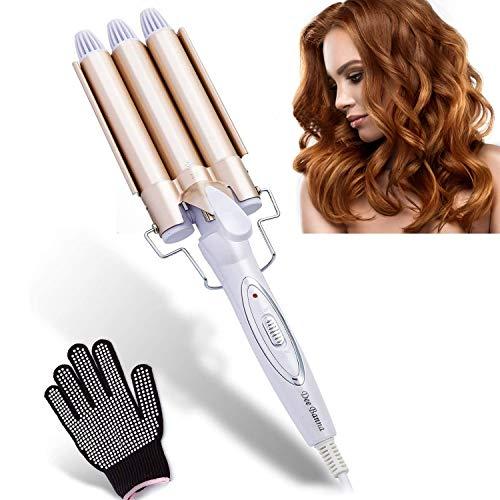 Rizador de pelo con 3 barriles de hierro ondulado, rizos grandes, 22 mm, herramienta de peinado para largo y corto