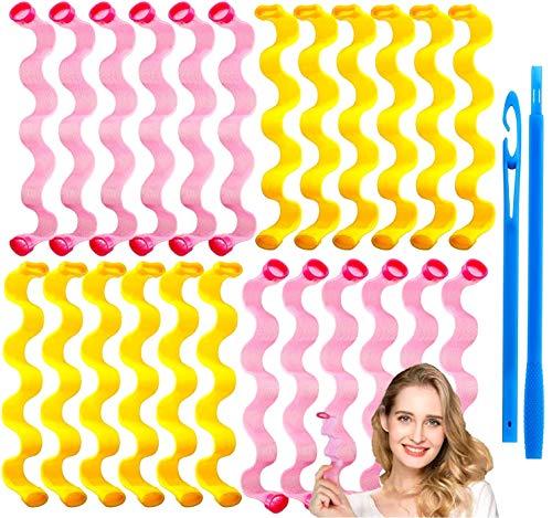 24pcs Rizos Espirales Kit, Rizadores de pelo mágicos en espiral, Magic Hair Curlers Spiral, Rizadores de pelo sin calor para cabello para...
