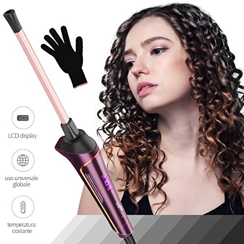 Rizador de Pelo, HS Onsing Tenacilla de pelo Rizador profesional Rizadora 9mm de cerámica para el pelo Sin tenacilla pantalla LCD...