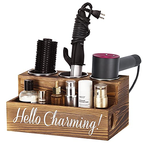 Emibele Caja de Almacenamiento de Madera, 30 x 18,5 x 15 cm Organizador de Secador Rizador Plancha de Pelo Maquillaje Champú Loción Cesta...