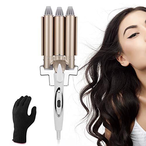 rizador de 3 pelo , rizador de cerámica Sendowtek de 25 mm, temperatura de calentamiento rápido ajustable, rizador largo con guantes...