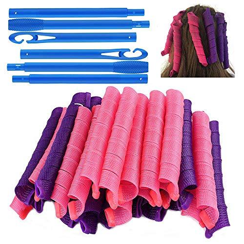 40 piezas de rizadores de pelo en espiral, rizadores de pelo de bricolaje durante la noche sin calor con ganchos de peinado, rulos,...