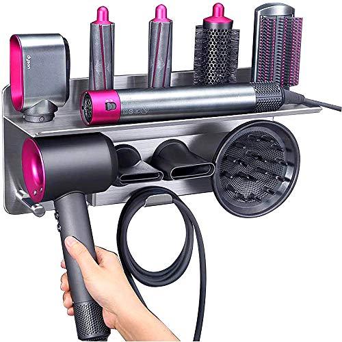 Kyrio 2 en 1 para rizador de pelo Dyson y secador de pelo, organizador de pared de almacenamiento compatible con Dyson Airwrap Styler y...