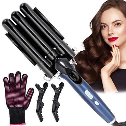 Rizador de pelo, Winpok Pinzas Rizadoras, 3 Tubo Rizador, Turmalina y Cerámica Pantalla LCD 4 Configuraciones de Temperatura (140 ° C-200...