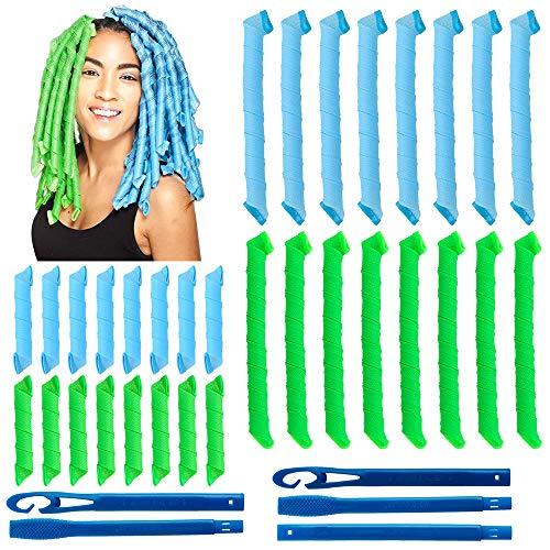 32 piezas de rizadores de pelo en espiral mágicos, juego de herramientas de peinadosin calor flexibles rulos para el cabello con ganchos de...
