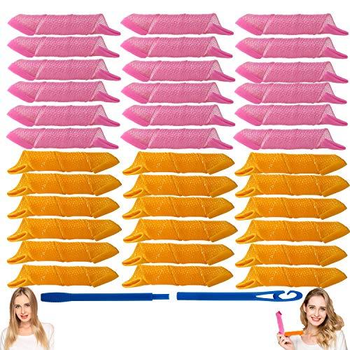 EQARD Rizadores de Cabello Sin Calor Rizos Espirales Estilismo Rulos Kit 36 Mágicos Rulos para el Pelo Sin Calor con 1 Gancho de Peinado...