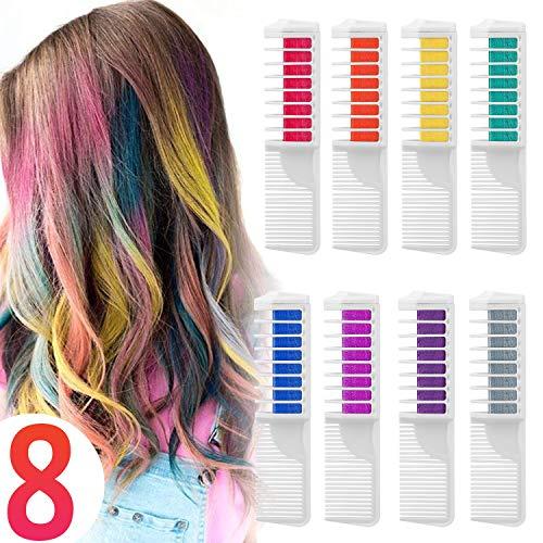 Wolady Coloración Temporal Cabello Tiza Peine Cabello Tinte Cabello 8 Colores 2 en 1 Peine Coloración Color de Cabello con Guantes y Chal...