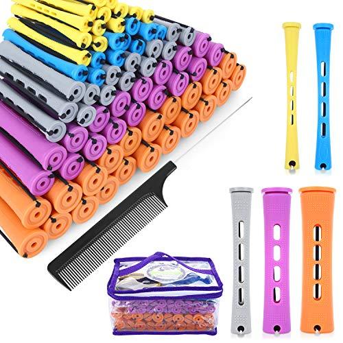 SPTHTHHPY Perm Rods y 100 piezas 5 tamaños Rodillos de pelo con cabello ondulado frío Rizador de pelo para mujer largo corto y...